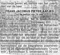 Aafjes, Frans Jacobus Pieter