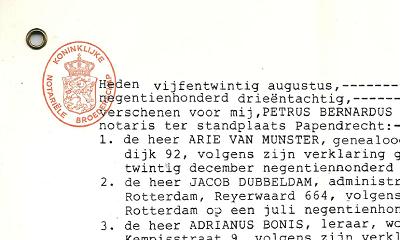 Stichtingsakte Streekarchief Eiland IJsselmonde 25 augustus 1983